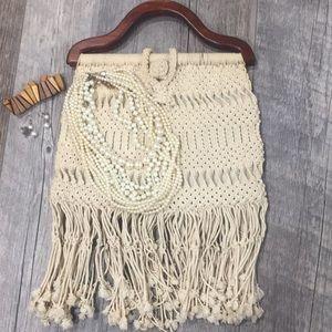 Handbags - Vintage 1920's crochet beige purse